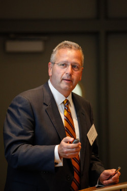 Dr. Joseph DeSimone speaks at a science symposium at Ursinus College.