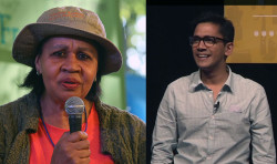 Distinguished speakers Jamaica Kincaid and Abhi Nemani