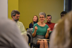Lappé speaks with students and faculty in an informal chat in the Bears Den Nov. 5.