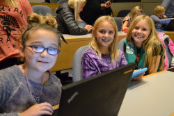 Girls Scouts Devyn (L-R) Ashley and Kaela learn the basics of coding