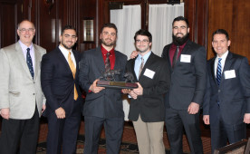 CFA Challenge winners with (from left) industry mentor Michael Matorelli; students Gabe Gordon, Ryan Pinter, Gavin Reeves ...
