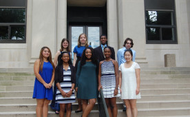 Ursinus College's 2016 FUTURE Summer Research students: Front (L to R):  Zonia Rueda, Caela Flake, Jessica Saunders, Jorde...