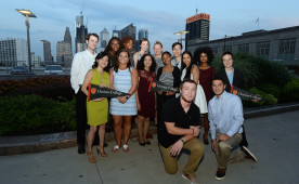 The first cohort of students for the Philadelphia Experience gather for a kickoff event on Sept. 8 in Center City.