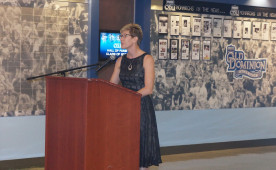Laura Moliken speaking at the ODU Athletics Hall of Fame induction