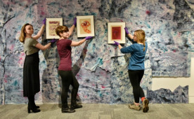 "Ursinus students minoring in museum studies curate the Berman Museum exhibition, ""Natessa Amin: Dancing on the Water ..."