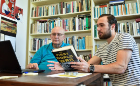 Professor Ross Doughty and Ed  Malandro '16 collaborate on designing a course on World War I.