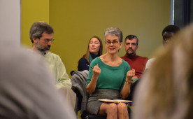 Lappe speaks with students and faculty in an informal chat in the Bears Den Nov. 5.