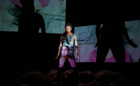 Jennifer Grugan '16 dances in a prior UCDC performance that used the same projection techniques that will be seen in ...