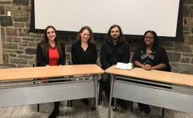 Emily Herman '10, Rachel Brown '15, Matt Whitman '10 and Latifah Waddy '12 spoke to Ursinus students about careers in comm...