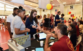 Students checking in for move-in day