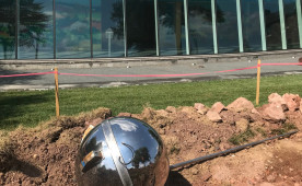 "Brandon Vickerd's ""Sputnik Returned,"" a stainless-steel replica of the first man-made satellite to orbit t..."