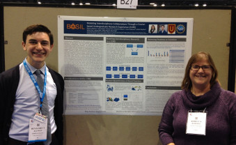 Ben Allwein '18 and Prof. Rebecca Roberts presented research at a national conference in Chicago.