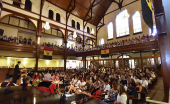 First-year students gather in Bomberger Hall for convocation.