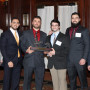 CFA Challenge winners with (from left) industry mentor Michael Matorelli; students Gabe Gordon, R...