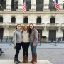 CIE Fellow Riley Acton '15 with Sydney Eckert and Kelly McLaughlin, both '18, in front of the New...