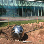 "Brandon Vickerd's ""Sputnik Returned,"" a stainless-steel replica of the first man-..."