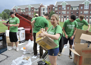 Green Team members recycled cardboard for Sustainable Move-In.
