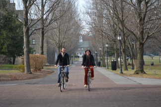 Students and faculty riding bicycles