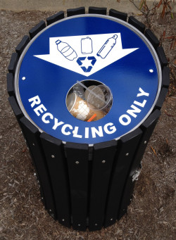 Blue recycling bins can now be found throughout the Ursinus College campus