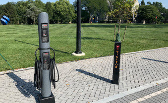 This is the first electric car charging station on campus! While we are talking about electric, all lights inside the building are LED (Light-Emitting Diode). LED lights last longer and use fewer watts than traditional lights.