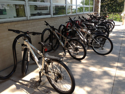 Our bikes are stored next to Wismer.