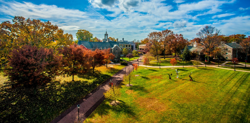 Arial view of the campus with fall foliage.