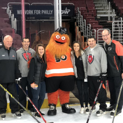 Jillian Falduto '19, an Applied Economics major, interns with the Philadelphia Flyers.