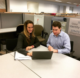 Tom Kozior '17 explored careers in finance at Vanguard by shadowing Megan Shirbach '03