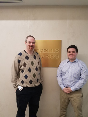 Brendan Werner '18 shadows Dan Gedrich '99 at Wells Fargo in Wilmington, DE.