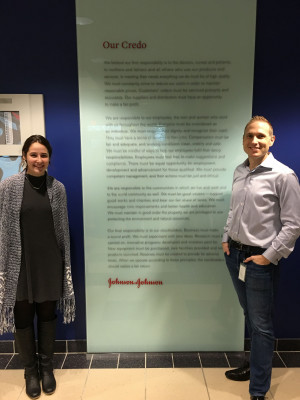 Erin Saybolt '20, shadows John Sears '99 (PhD, MBA) the Health Care Quality Strategy Director of Immunology at Johnson and Johnson.