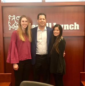 Kim Wieghaus '20 and Nadis (Yu-Hisen) Tsao '19 shadow Jonathan Markoe '86 at Merrill Lynch.