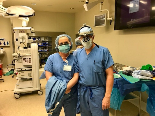 Danielle Uibel '18 shadows Dr. Todd Nixon '83 at St Mary Medical Center.