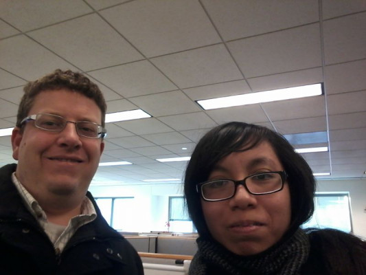 Elena Ngo '19 shadows Ryan Fink '02 at Vanguard.