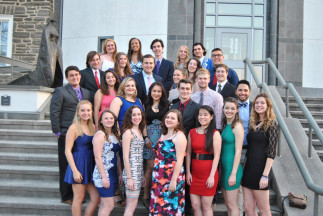Resident Advisors take photos before heading their spring formal.