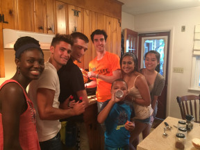 Students participate in a cooking competition at Dean Missy Bryant's house at the beginning of the year.