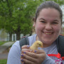 A student holds a baby chick from Quiver Farms