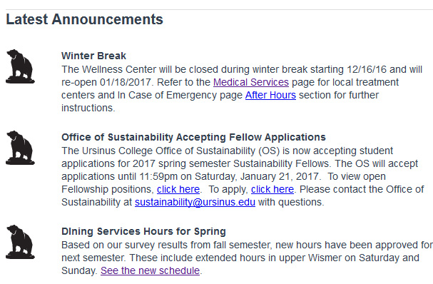 please try to be concise in your announcement text and provide links to more detailed information on your department website