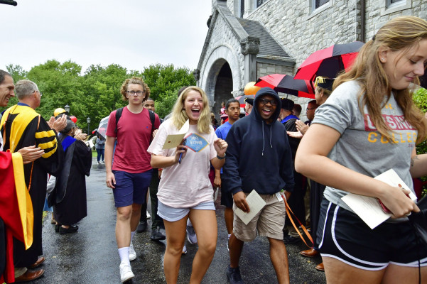 Each August faculty and staff welcome first year students to the Ursinus community in Bomberger Hall during Convocation.