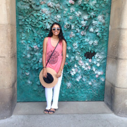 Saloni Parikh in front of colorful street art