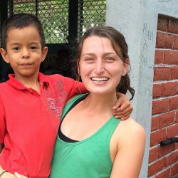 Christina Cromwell posing while doing service work in Nicaragua