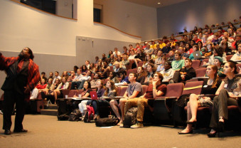 More than 300 students, faculty, and community members filled Olin Auditorium to hear Dr. Tyrone Hayes speak on