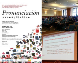 Óscar Iván Useche, Assistant Professor of Modern Languages, teaching new pronunciation to interested audience members