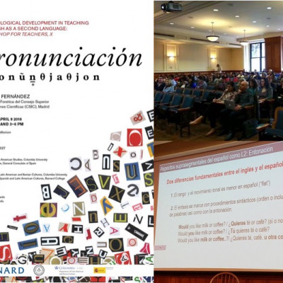 Óscar Iván Useche, Assistant Professor of Modern Languages, teaching new pronunciation to inter...