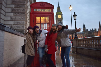 Samantha Ha '16 has been studying at the University of Glasgow in Scotland this fall semester. We all went abroad to visit her over Thanksgiving break. We visited Dublin, Ireland, London, England, and several cities in Scotland. Left to right is Shannon Serafin '16, Emily Bergmann '16, Samantha Ha '16, and myself, Jessica Hill '16.