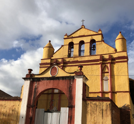 Yellow church in Mexico