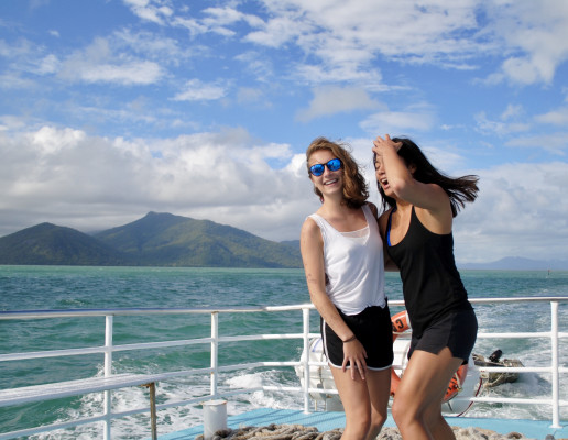 Students on a boat in Australia