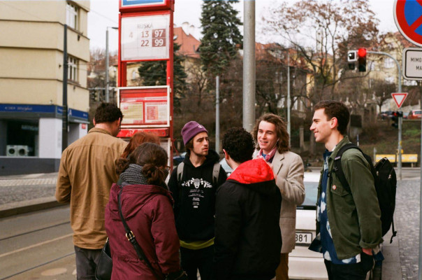 Students gathered on street in Czech Republic