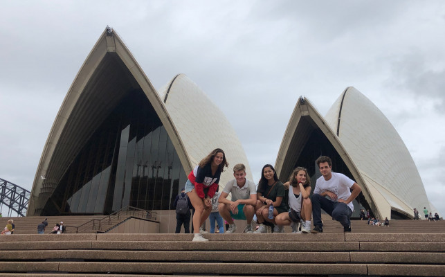 Students on the steps of the Sydney Opera House