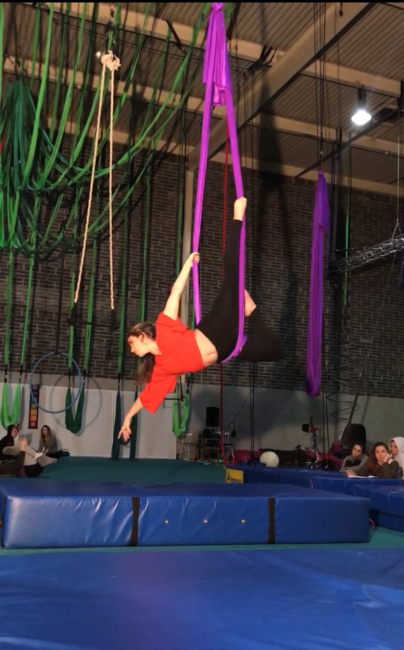 Student doing acrobatics in Ireland